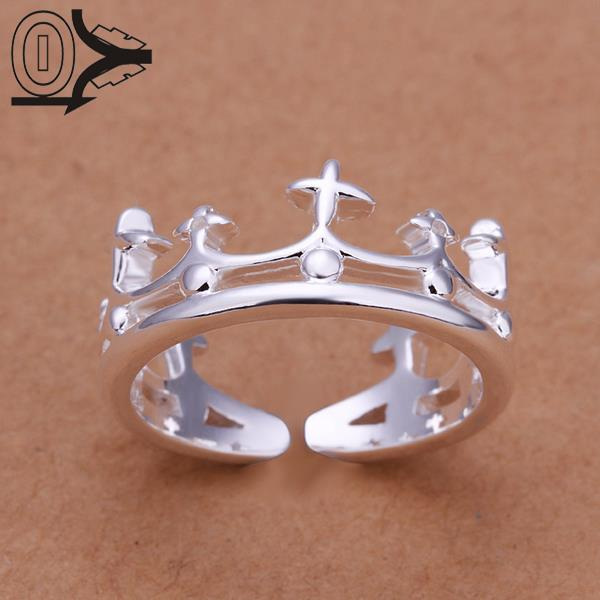 Free Shipping Wholesale Silver-plated Ring,Silver Fashion Jewelry,Women&Men Gift Crown Silver Jewelry Finger Rings Top Quality