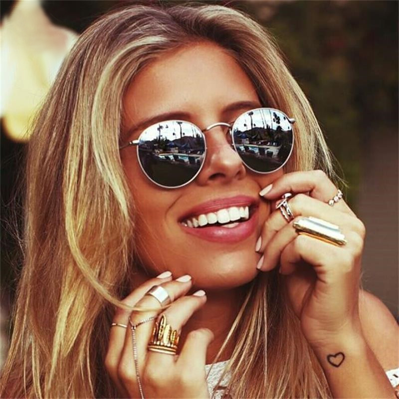 2019 Luxury Mirror Sunglasses Women/Men Brand Designer Lady Classic Round Sun Glasses UV400 Outdoor Oculos De Sol Gafas