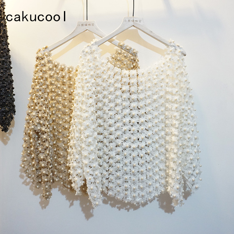 Cakucool Women Luxury Pearl Bead Blouse Gold Lurex Floral Lace Hollow Out Cute Shirt Flare Sleeve Elegant Blusa Pullover Femme