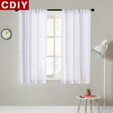 Соревнование CDIY Короткие шторы для Кухня однотонная вуаль шторы для Гостиная современный Спальня занавески скрининг окна шторы Декор