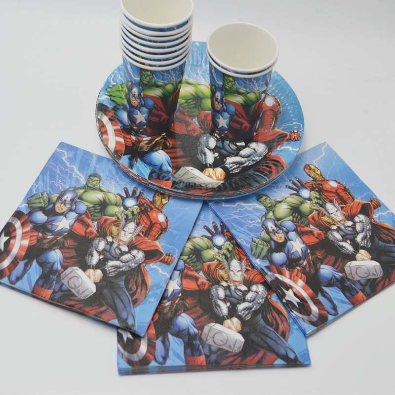 40pcs/lot avengers birthday party Cup/Plate/Napkin kids Party Decoration Disposable Tableware kids Boys superhero party supplies