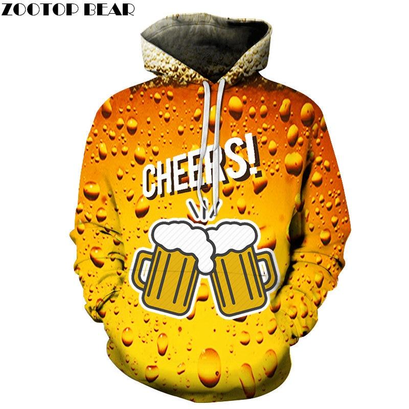 Funny Male Jackets Sweatshirts Fashion Streetwears Beer Men Pullover Couple Casual Brand Hoodies 3D print Drop Shop ZOOTOPBEAR