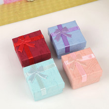 Cheap Sale Jewelry Box Gift Boxes With Knot Necklace &Ring &Bracelet Display Box For Jewelry Fixed Mixed Multicolor 4x4x3cm(China)
