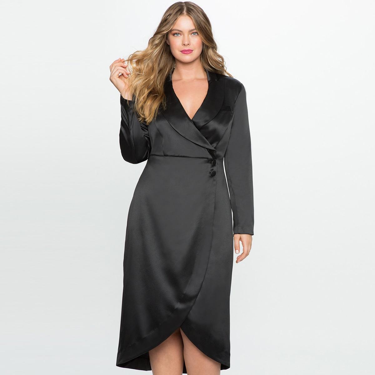 03b2c8c67ab MCO 2018 Tailored Office Ladies Plus Size Blazer Dress Oversized Black Wrap  Midi Dresses Basic Big OL Women Clothes 3XL 7XL-in Dresses from Women s  Clothing ...