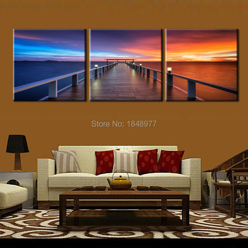 3 Panel Modern Home Decor Paintings Sunrise Seaview Bridge Canvas Prints Picture Beautiful View Wall Art For Bedroom
