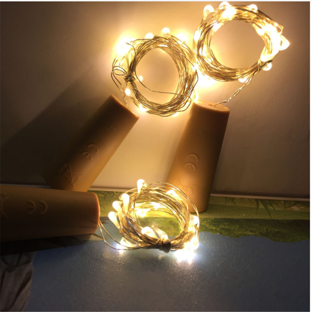 1m / 2m Silver Copper Wire LED String Light Bottle Stopper For Fairy Party Wedding Christmas Holiday Lighting Powered by Battery