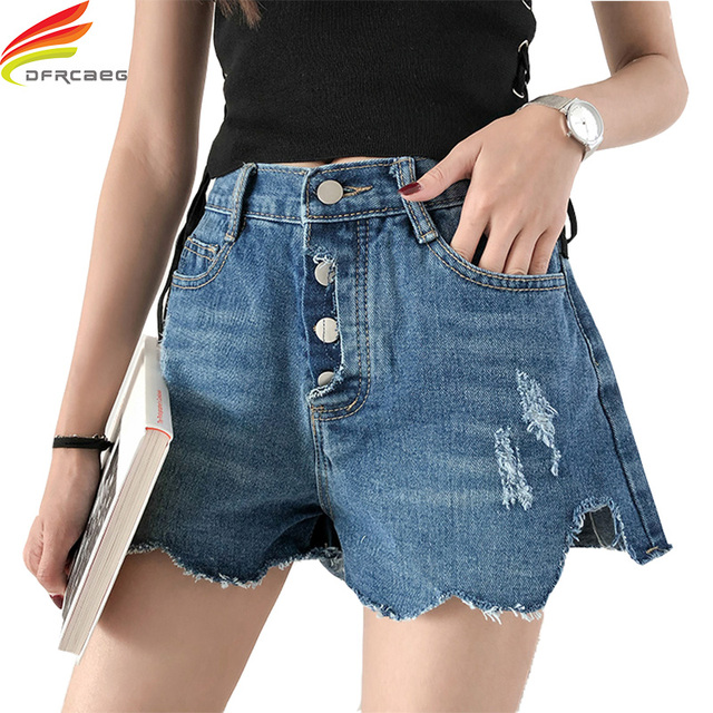 Summer Shorts 2018 Denim Wide Short Jeans Ripped Hole Blue Color High Waist Woman Casual Women's Shorts Jeans Loose Shorts