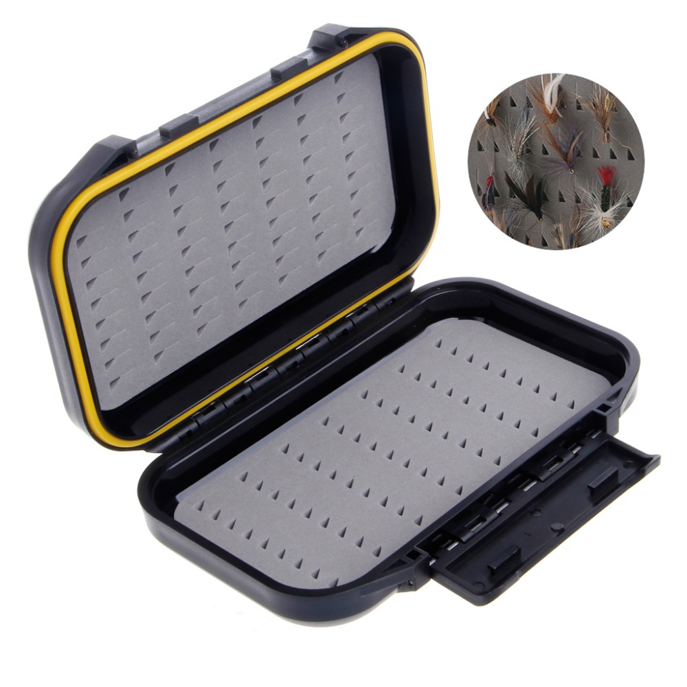 Fly-Fishing-Box Container Case Maximumcatch Plastic Waterproof Large-Size Swingleaf Black