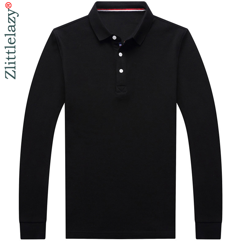 2019 designer brand long sleeve slim fit   polo   shirt men casual jersey solid mens   polos   vintage luxury quality tee shirt 41316