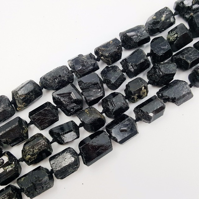 LiiJi Unique Black Tourmalines Huge Loose Beads Approx 15x20mm/15x18mm Raw Stone 39cm  Making Bracelet Necklace