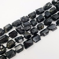 LiiJi Unique Natural Stone Black Tourmalines Huge Loose Beads Approx 15x20mm/15x18mm Raw Stone 39cm Making Bracelet Necklace