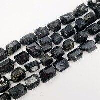 Natural SStone Black Tourmalines Loose Beads Approx 14 19mm Raw Stone 39cm DIY Jewelry Making Bracelet