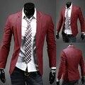 8 Colores Para Hombre Con Estilo Casual Slim Fit Un Botón de La Manera Blazers Chaqueta de La Capa 062