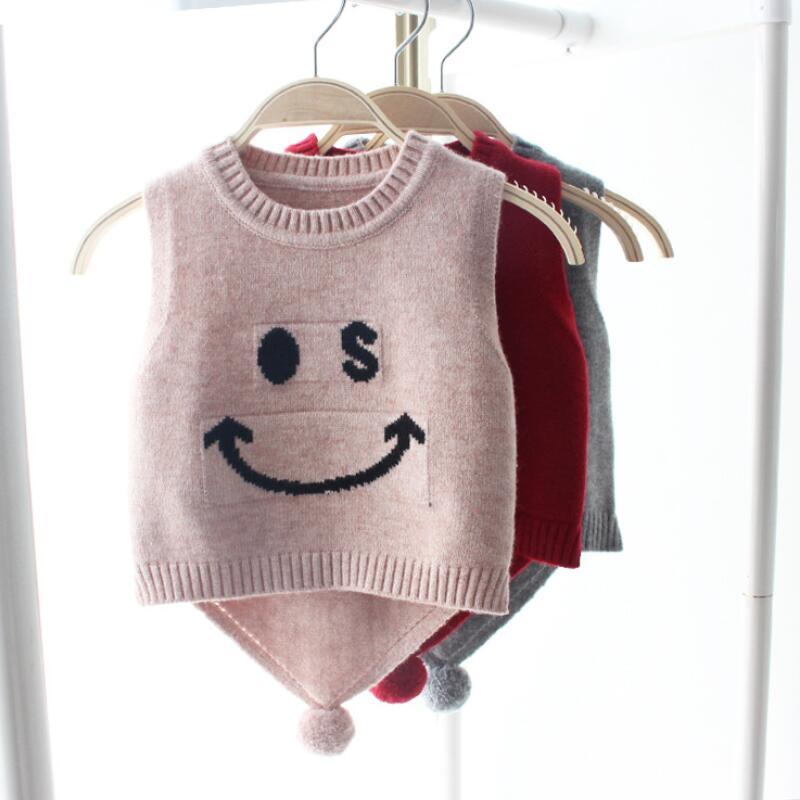 2018 Frühling Herbst Winter Kid Kind Kind Baby Westen Niedlichen Cartoon Fell Bogen Pullover Stricken Mädchen Kleidung Baby Mädchen Weste Tops Jw6114
