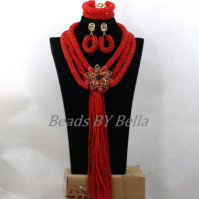 Luxury Braid Red Crystal Statement Necklace Bridal Jewelry Sets Wedding Beads African Costume Jewelry Set Free Shipping ABK260