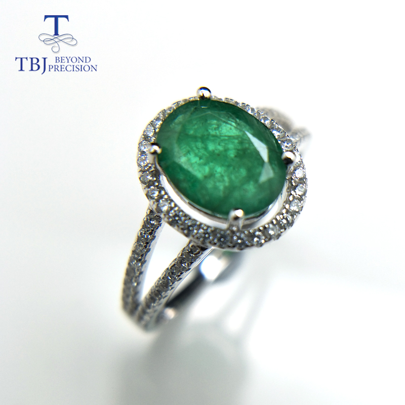 Image 3 - TBJ, 100% natural emerald ring in 925 sterling silver with gift box,elegant dianna rings with natural emerald gemstone ring-in Rings from Jewelry & Accessories
