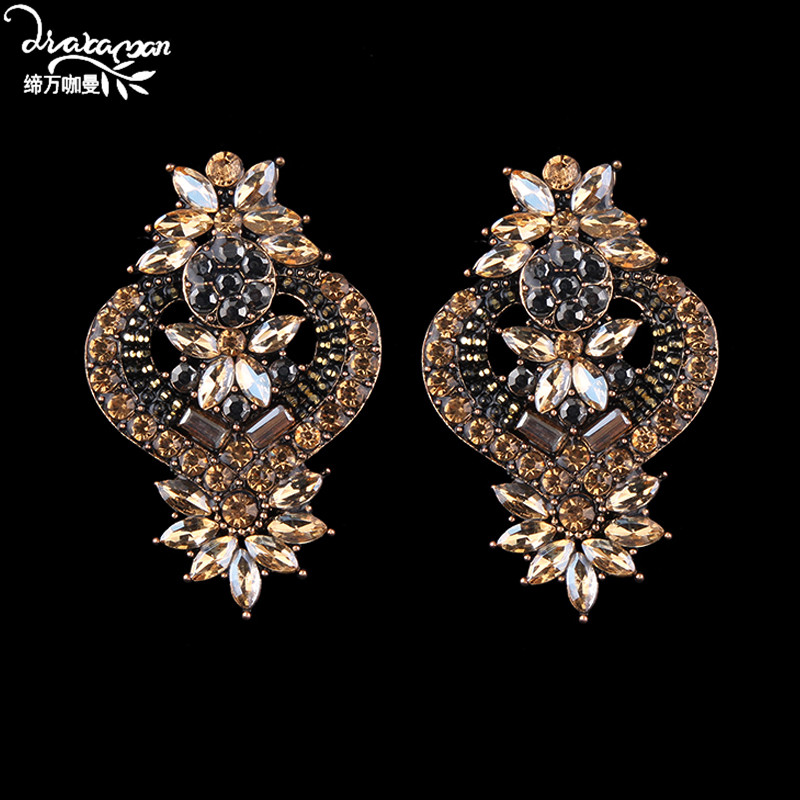 Dvacaman Dangle Earrings Jewelry-Accessories Rhinestone Bridal-Crystal-Statement Indian