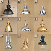 Luxury Big Pendant Lighting Vintage Industrial Lamp American Round Copper Lamp Loft Industrial Hanging Lamps Edison Lampshade