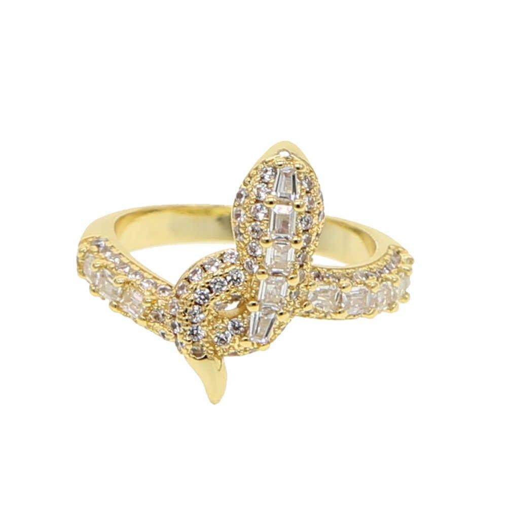 2019 Горячая Мода Золотое заполненное багет камень женский палец кольцо инкрустированный цирконами классический животное форма змеи обернуть украшения для пальцев