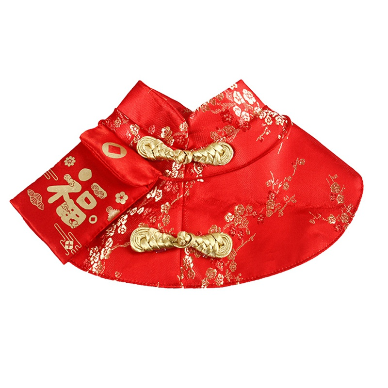 Pet Cat New Year Cloak Clothes Party Costume Chinese Style Tang Dynasty Dress Festival Cloak with Red Envelope for Kitten Yorkie