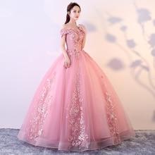 Красный розовый Бальные платья с открытыми плечами аппликации бисером Vestidos De Gala Largos пышное платье Выпускной Маскарад Бальные платья