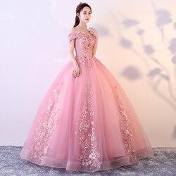 Красные и розовые платья Quinceanera, с плеча, с аппликацией, с бусинами, Vestidos De Gala Largos, пышное платье Выпускной, маскарадные Бальные платья