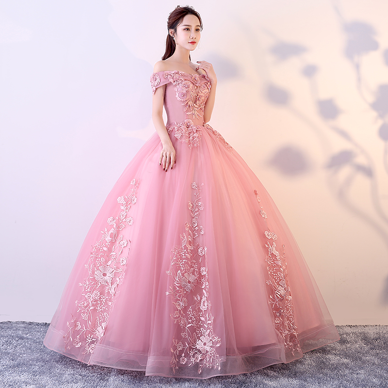 Robes De Quinceanera rose rouge hors De l'épaule Appliques perles robes De Gala Largos robe De bal bouffante mascarade robes De bal