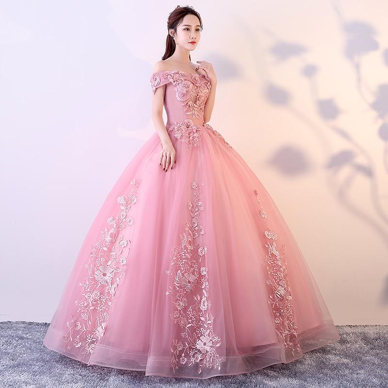 Robes De Quinceanera rose rouge hors De l'épaule Appliques perles robes De Gala Largos robe De bal bouffante mascarade robes De bal