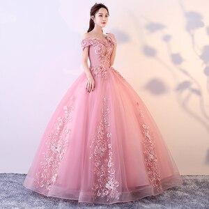 Image 2 - Rot Rosa Quinceanera Kleider Weg Von Der Schulter Appliques Perlen Vestidos De Gala Largos Prom Kleid Puffy Masquerade Ball Kleider