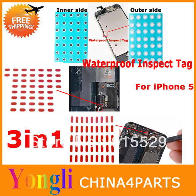 Factory 3 in 1 Motherboard Waterproof Inspect Tag For iPhone 5 Waterproof Sticker Water Sensitive Adhesive Strip for iPhone 5