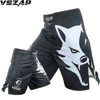VSZAP Black Kick Boxing Shorts Men Women Polyester Plus Size Punching Kicking Taekwondo Kickboxing mma Shorts Trunks muay thai