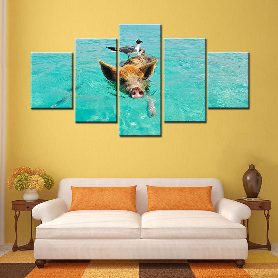 A Pig Swimming in Water Seagull Animal Wall Art Painting Canvas ...