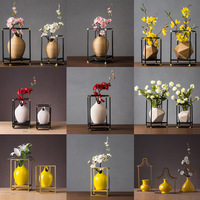 Creative Flower Vase European Vase Decoration Home Vase for Flower Jarrones Decorativos Moderno Iron Rack Floreros De Decoracion