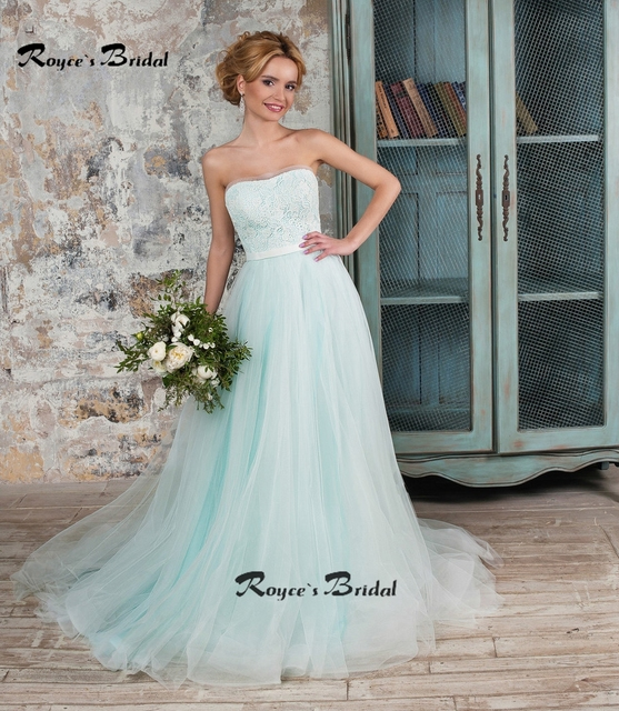 Simple Strapless A Line Mint Green Wedding Dresses New Tulle Lace Bridal