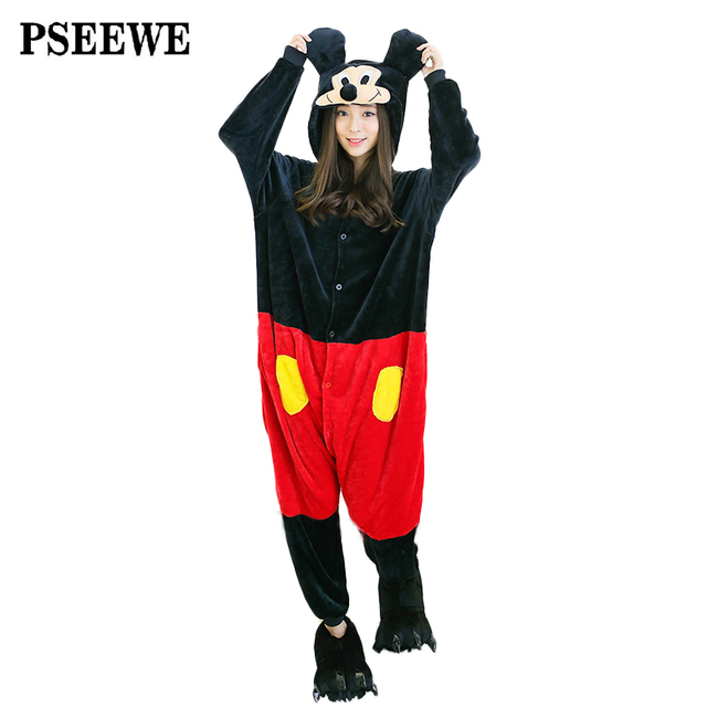 PSEEWE Moda Unisex Otoño E Invierno Pijama 2016 Ratón de Dibujos Animados Mujeres Ropa de Dormir Pijamas de Franela Pijamas Animal Cosplay