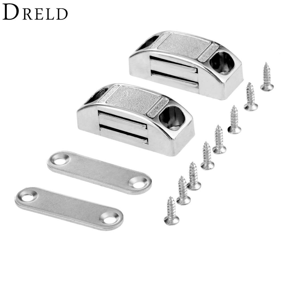 DRELD 2Pcs 42*17MM Magnetic Door Catches Cupboard Wardrobe Magnetic Cabinet Latch Catches Stop Stoppers