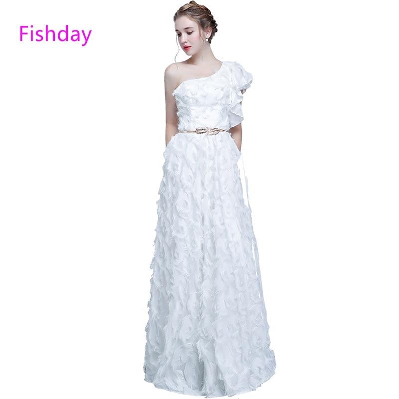 Fishday Evening Dress Floor Length White One Shoulder A Line Long