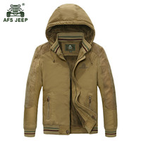 AFS JEEP Plus Size M 5XL Men S Winter Thicken Hooded Army Green Coat Man Casual