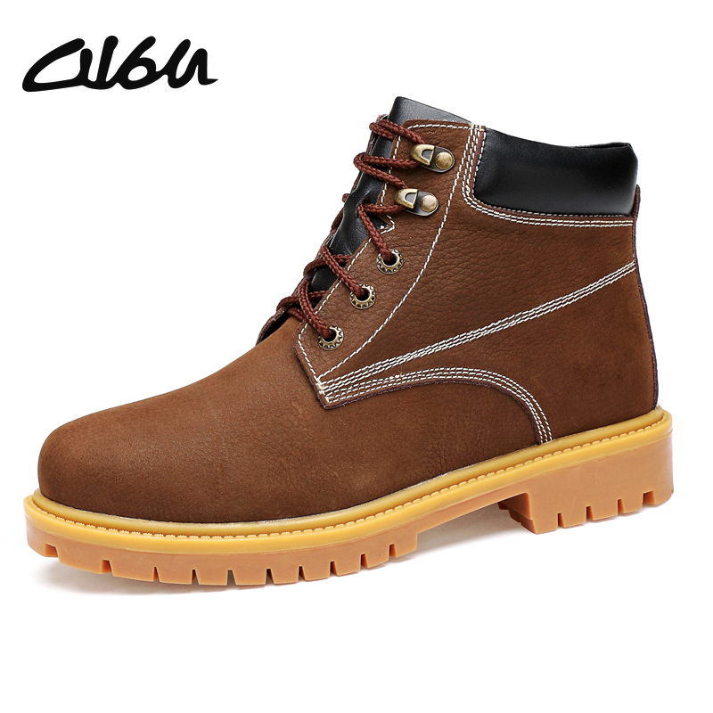 O16U Winter Men Work Boots Shoes Full Grain Leather Lace Male Snow Boots Rubber Casual Fur ...