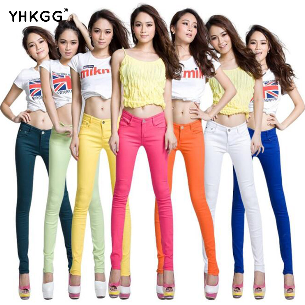 Warm winter Store New Autumn Fashion Pencil Jeans Woman Candy Colored Mid Waist Full Length Zipper Slim Fit Skinny Women Pants