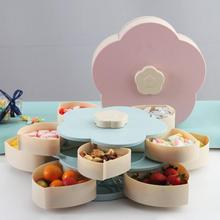 Bloom Snack Box Creative Pattern Rotating Double Fruit Bowl Candy Wedding Petal Seed