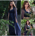 2017 Dubai Middle East Nancy Ajram Celebrity Evening Dresses Mermaid Dark Navy V-Neck Sequins Lace with Shawl Long  Formal Prom