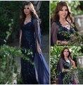 2017 Dubai Oriente medio Nancy Ajram Celebrity Vestidos de Noche de La Sirena V-cuello de Las Lentejuelas Encaje Azul Marino Oscuro con el Mantón Largo Formal Prom