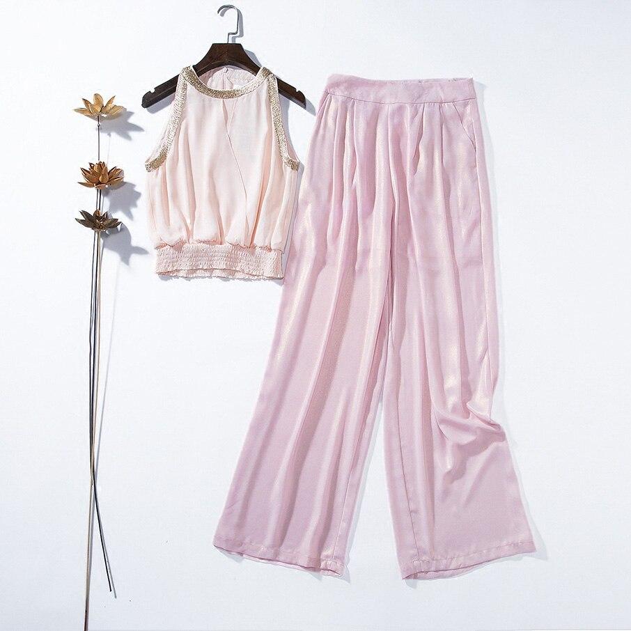 Halter Et Soie Pantalon Suit Européenne Mode Rose Nouveau De Ensembles Série Encolure En Défilé D'été Deux Femmes Mousseline Tempérament Longue Chemise Piece 78w6qF7