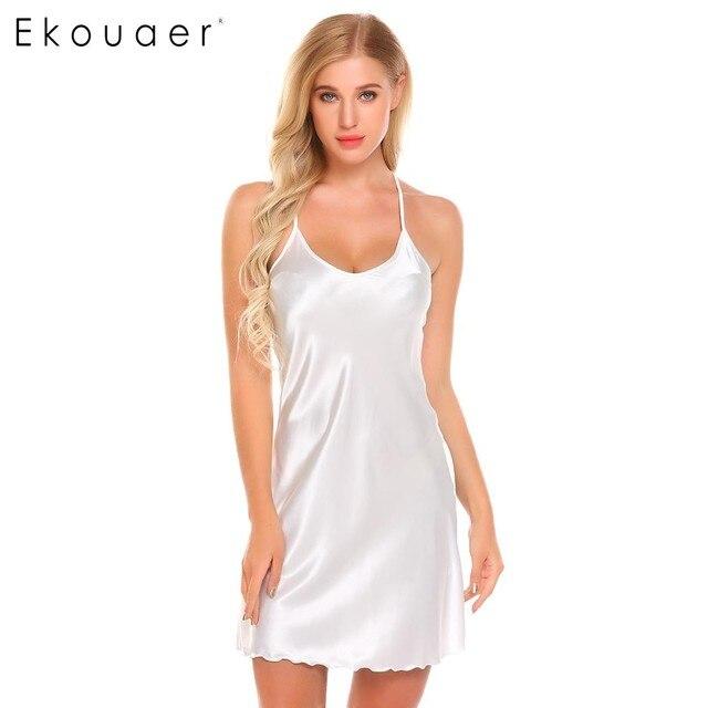 Ekouaer Mulheres Sexy Chemise Camisola de Cetim Sleepwear Alcinhas Camisola  Deslizamento Casa Camisola de Verão Sono cb493a579