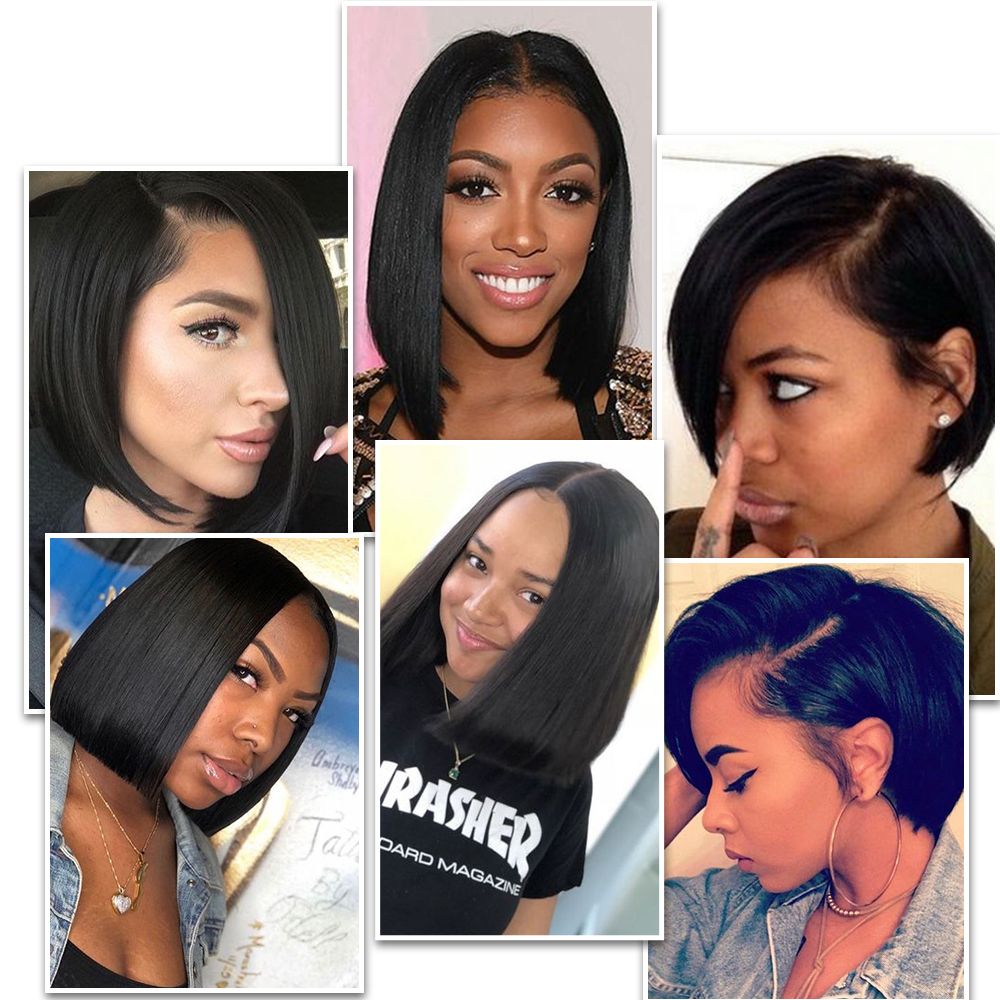 Image 2 - Lace Front Human Hair Wigs Blonde Natural Color Brazilian Remy Hair Short Bob Wig with Pre Plucked Hairline Blonde 613#-in Human Hair Lace Wigs from Hair Extensions & Wigs