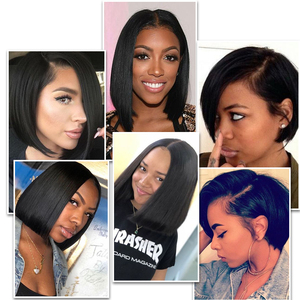 Image 2 - Lace Front Human Hair Wigs Blonde Natural Color Brazilian Remy Hair Short Bob Wig with Pre Plucked Hairline Blonde 613#