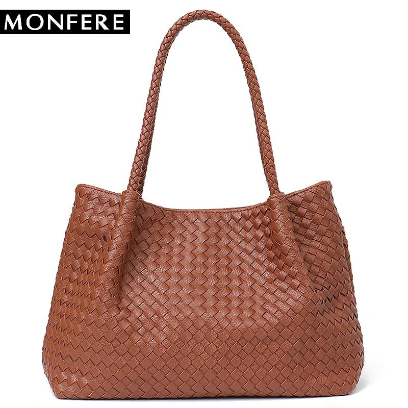 MONFERE Women Vegan Leather Handbag Female Large Totes High Quality Handmade Woven Big Ladies Shoulder Top-handle Bags&Purse Bag