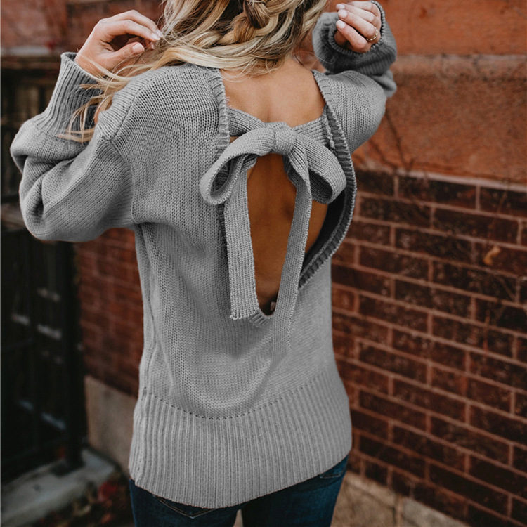 Sweet Backless Bowknot Lantern Long Sleeve Pullover Sweater 3