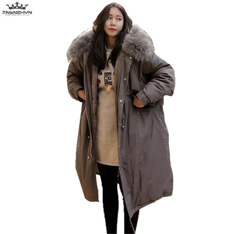 tnlnzhyn 2017 New Winter Jacket Women Coat Women Large Fur Collar Hooded Down Cotton Jacket Thick Parka Fashion Warm Coats Y663 2017winter women coat warm fashion large fur collar medium long down cotton jacket coat thick large size hooded coats e8 tnlnzhy